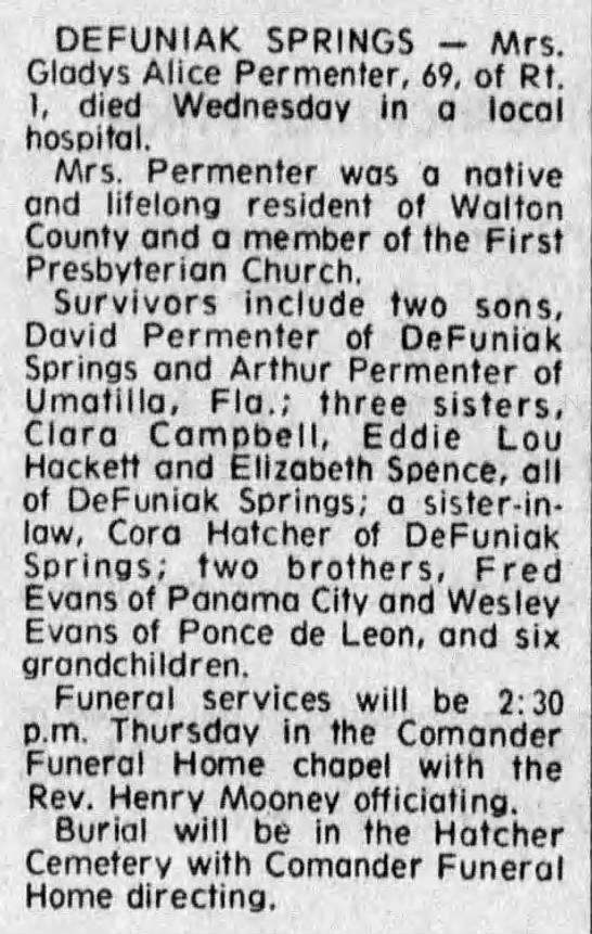 Gladys Alice Evans Permenter Obituary